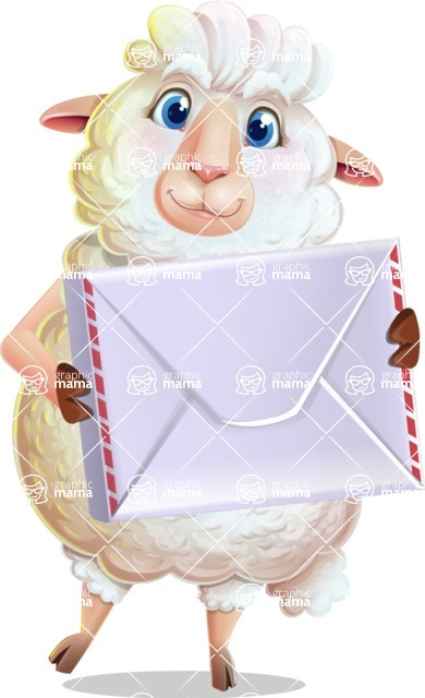 White Sheep Cartoon Vector Character - Holding mail envelope