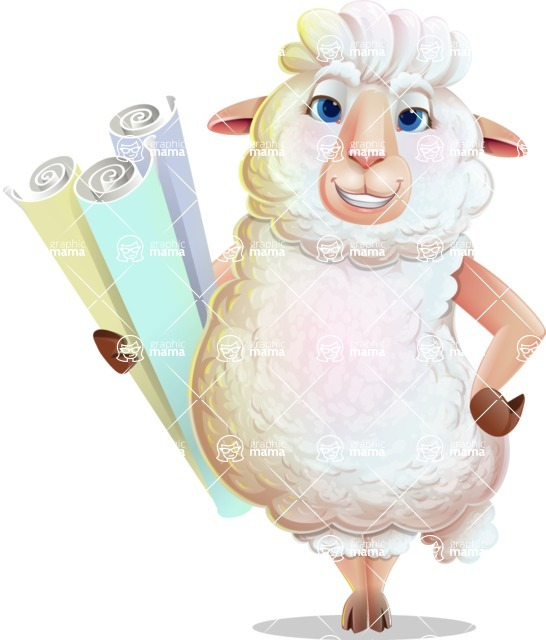 White Sheep Cartoon Vector Character - Holding Plans