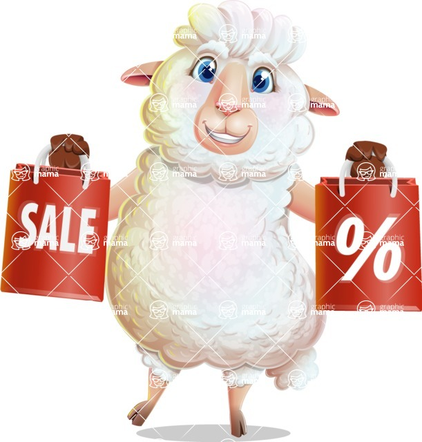 White Sheep Cartoon Vector Character - Holding shopping bags