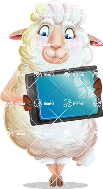 White Sheep Cartoon Vector Character - Holding tablet