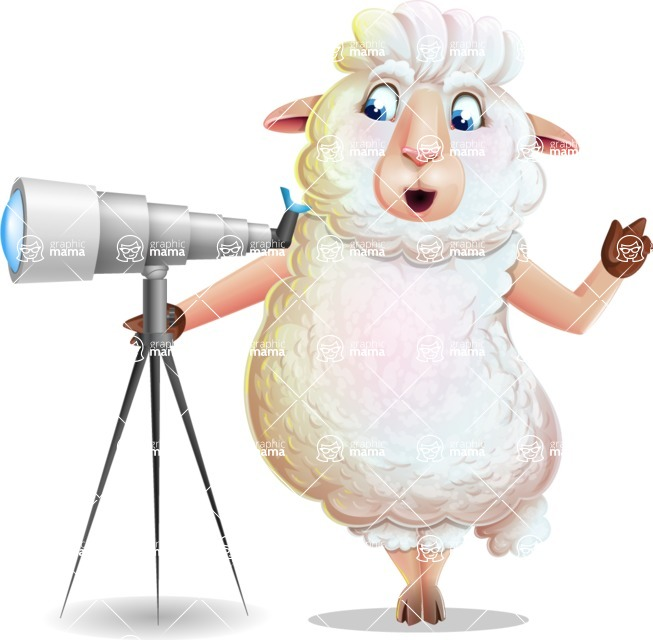 White Sheep Cartoon Vector Character - Looking through telescope