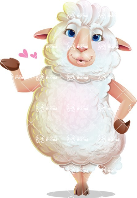 White Sheep Cartoon Vector Character - Making a Duckface for a selfie