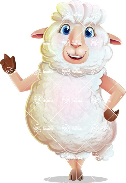White Sheep Cartoon Vector Character - Making a point