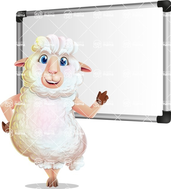 White Sheep Cartoon Vector Character - Making a Presentation on a Blank white board