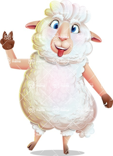 White Sheep Cartoon Vector Character - Making Funny face