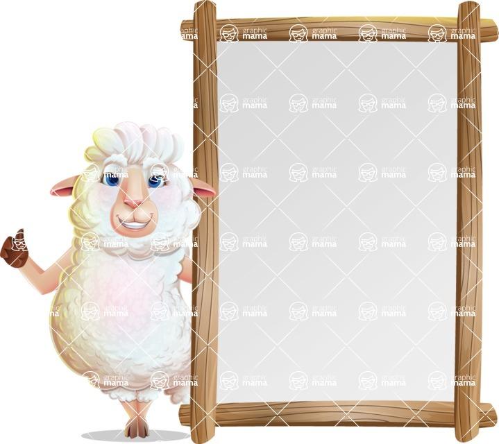 White Sheep Cartoon Vector Character - Making thumbs up with Big Presentation board