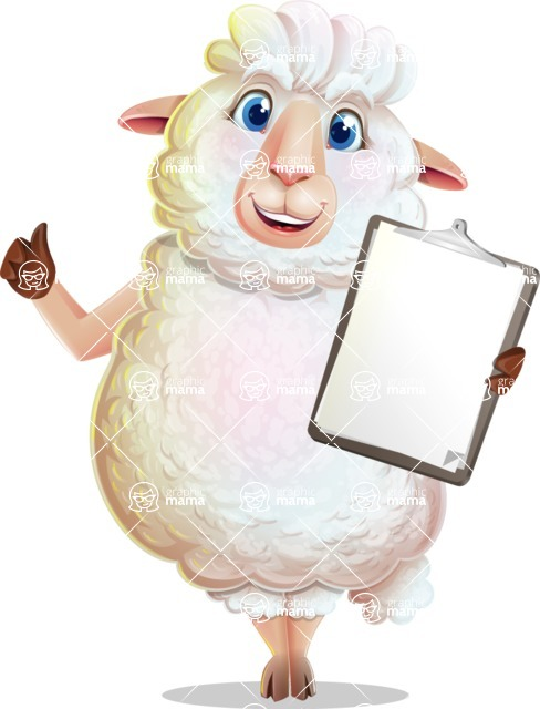 White Sheep Cartoon Vector Character - Making thumbs up with notepad