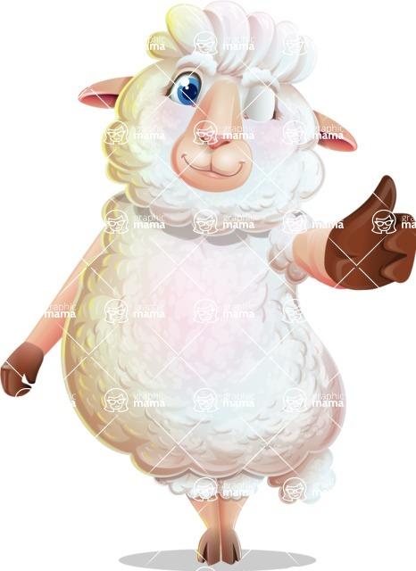 White Sheep Cartoon Vector Character - Making Thumbs Up