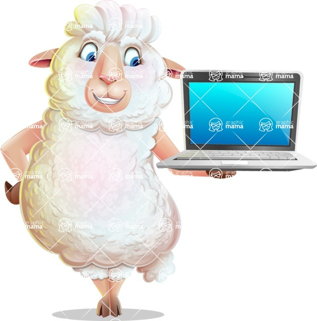 White Sheep Cartoon Vector Character - Presenting on laptop