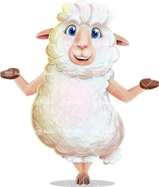 White Sheep Cartoon Vector Character - Presenting with both hands