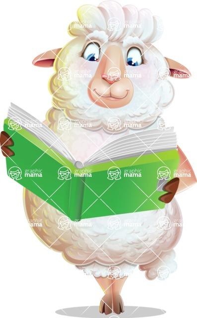 White Sheep Cartoon Vector Character - Reading a book