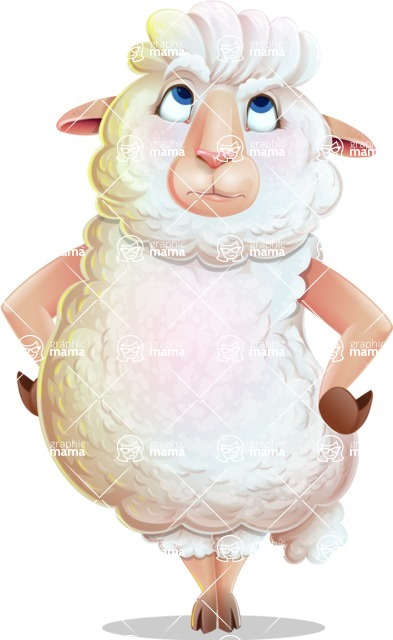 White Sheep Cartoon Vector Character - Rolling Eyes