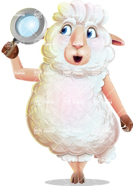 White Sheep Cartoon Vector Character - Searching with magnifying glass