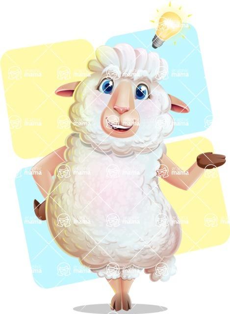 White Sheep Cartoon Vector Character - Shape 12