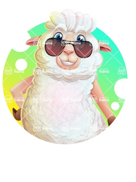 White Sheep Cartoon Vector Character - Shape 2