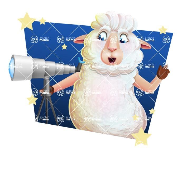 White Sheep Cartoon Vector Character - Shape 4