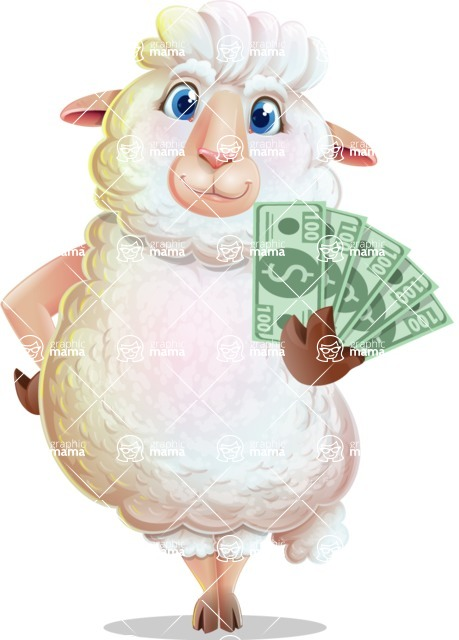White Sheep Cartoon Vector Character - Show me the Money