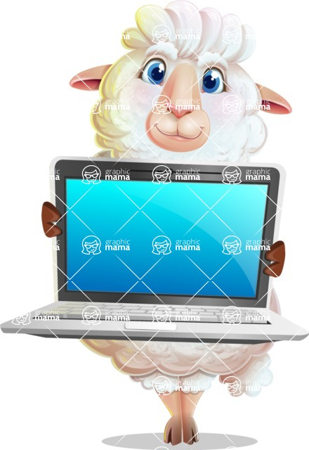 White Sheep Cartoon Vector Character - Showing a laptop