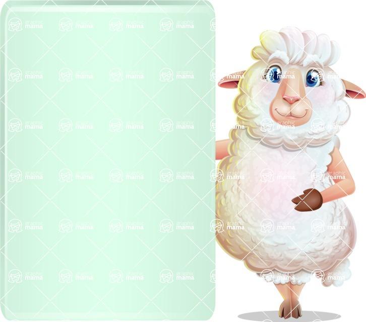 White Sheep Cartoon Vector Character - Showing Big Blank banner