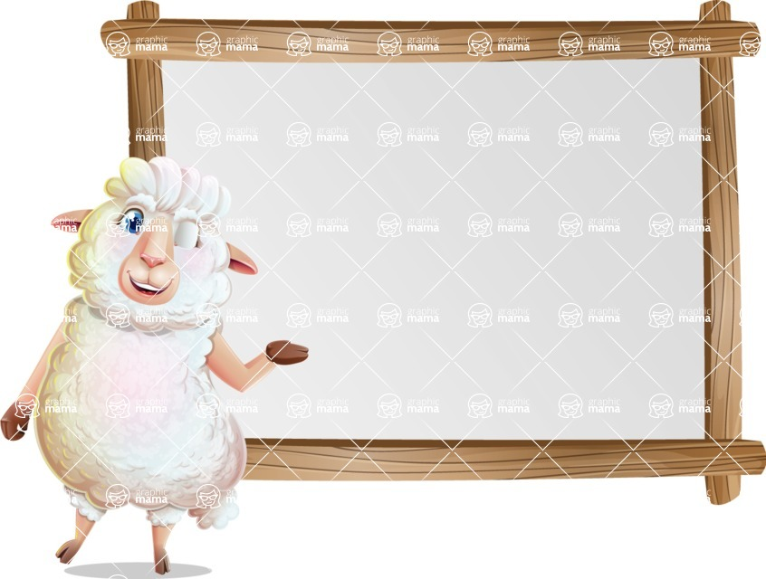 White Sheep Cartoon Vector Character - Showing on Big whiteboard