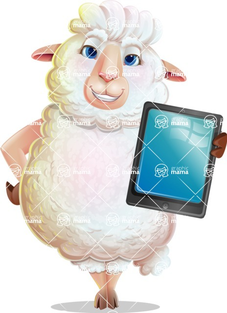 White Sheep Cartoon Vector Character - Showing tablet
