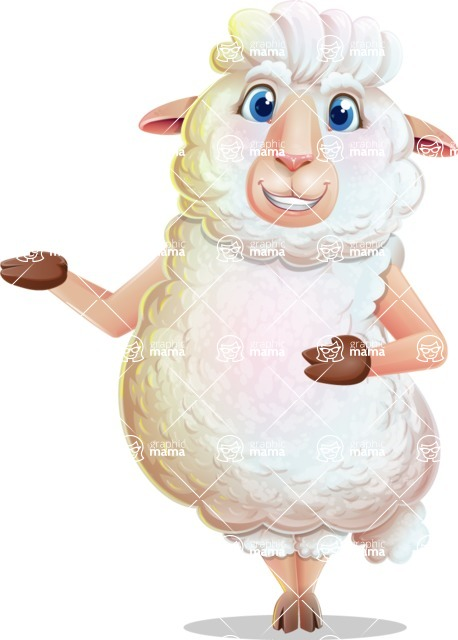 White Sheep Cartoon Vector Character - Showing with both hands