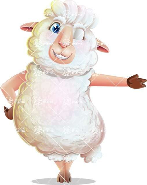 White Sheep Cartoon Vector Character - Showing with left hand