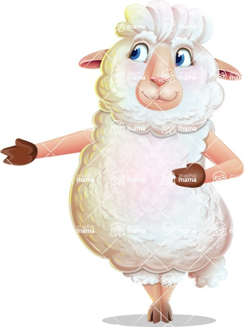 White Sheep Cartoon Vector Character - Showing with right hand