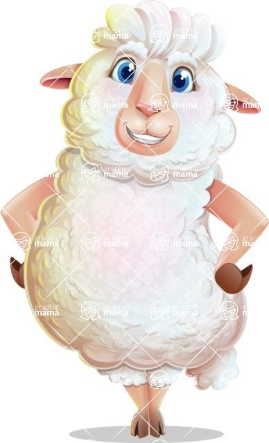 White Sheep Cartoon Vector Character - Smiling