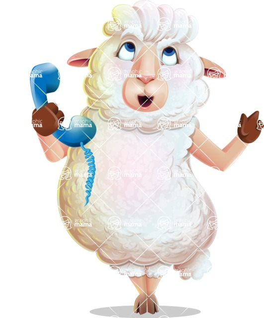 White Sheep Cartoon Vector Character - Talking on phone