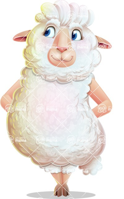 White Sheep Cartoon Vector Character - Waiting with hands behind back