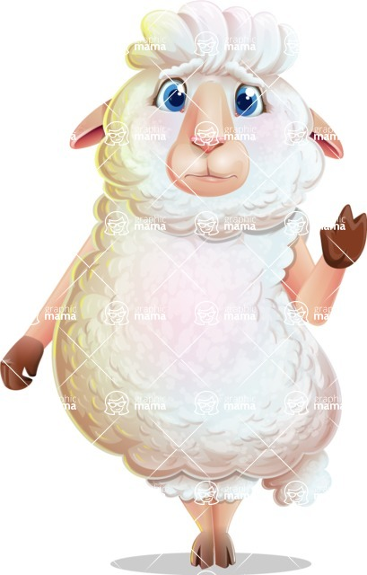 White Sheep Cartoon Vector Character - Waving for Goodbye with a hand