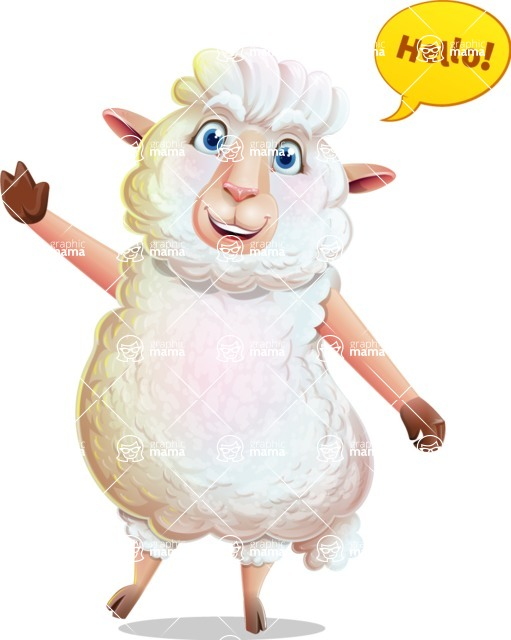 White Sheep Cartoon Vector Character - Waving for Hello with a hand