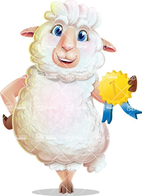 White Sheep Cartoon Vector Character - Winning prize