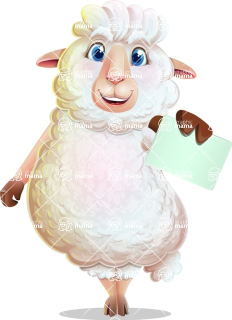 White Sheep Cartoon Vector Character - with a Blank Business card