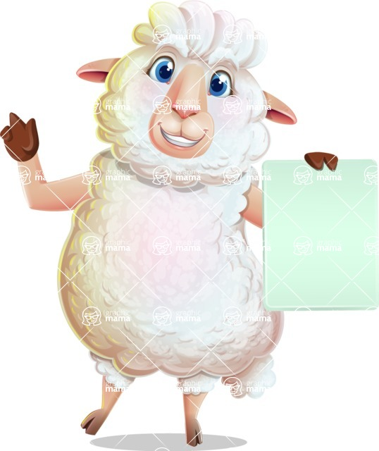 White Sheep Cartoon Vector Character - with a Blank paper