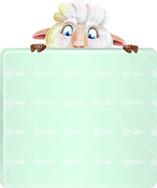 White Sheep Cartoon Vector Character - with a Blank Presentation sign