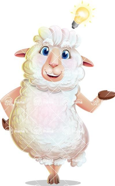 White Sheep Cartoon Vector Character - with an Idea