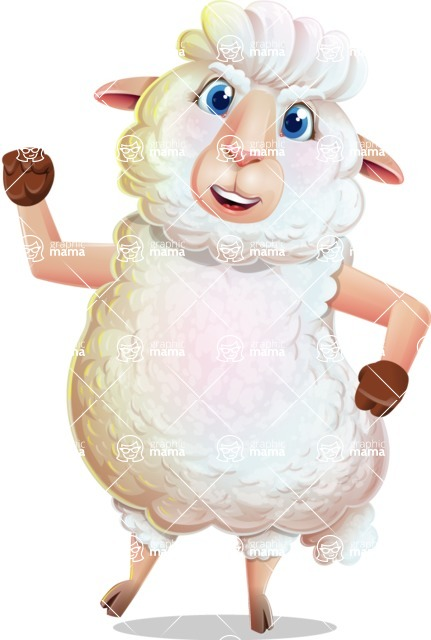 White Sheep Cartoon Vector Character - with Angry face