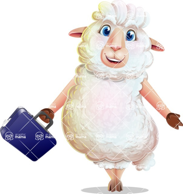 White Sheep Cartoon Vector Character - with Briefcase