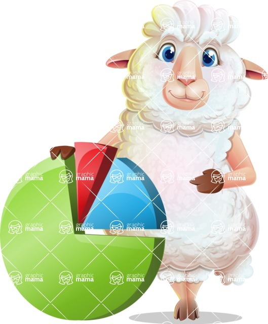 White Sheep Cartoon Vector Character - with Business graph