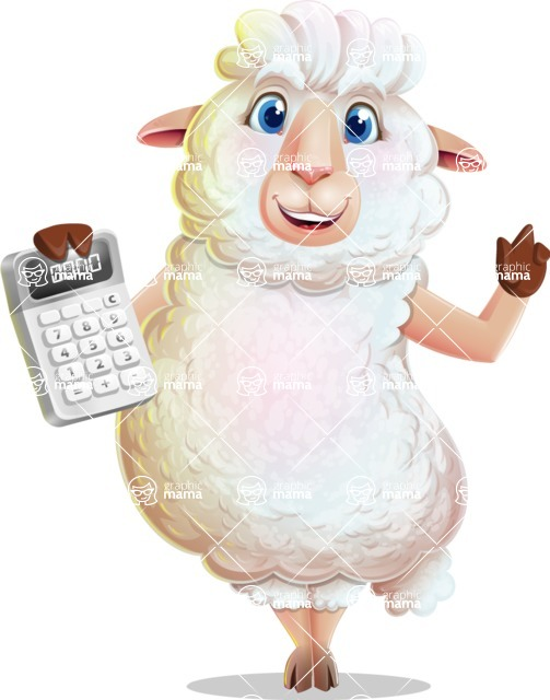 White Sheep Cartoon Vector Character - with Calculator