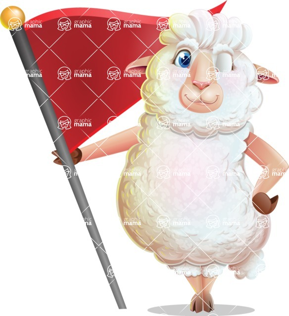 White Sheep Cartoon Vector Character - with Flag