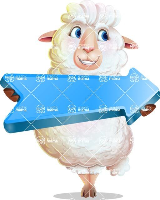 White Sheep Cartoon Vector Character - with Positive arrow