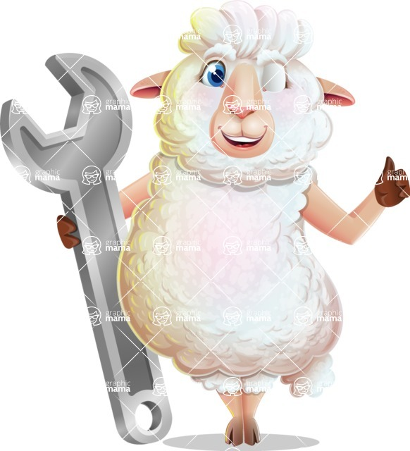 White Sheep Cartoon Vector Character - with Repairing tool wrench