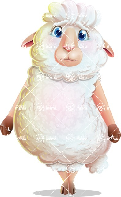 White Sheep Cartoon Vector Character - with Sad face