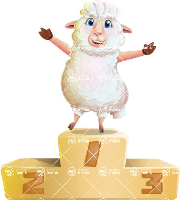 White Sheep Cartoon Vector Character - with Success on Top