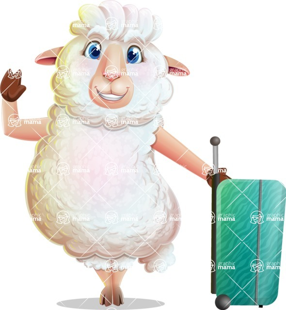 White Sheep Cartoon Vector Character - with Suitcase