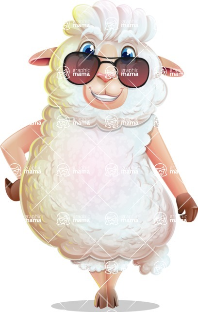 White Sheep Cartoon Vector Character - with Sunglasses
