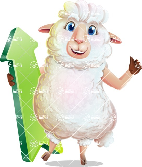 White Sheep Cartoon Vector Character - with Up arrow